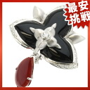 SELECT JEWELRY Onyx and coral brooch K18 white gold ladies fs04gm