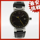 LOUIS VUITTON tambour GMT Q1131 watch SS/ leather men