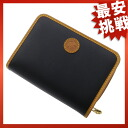 HUNTING WORLD round fastener folio wallet (there is a coin purse) nylon canvas x leather unisex