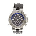 BVLGARI Diagono DG40S GMT gray Dial Watch black leather men's