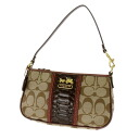 COACH logo plate with logos traps with accessories pouch signature canvas x Leather Womens