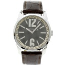 BVLGARIST42SL solo tempo watch SS/ tea leather men