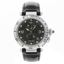 CARTIER pasha 38mm GMT watch SS/ leather men