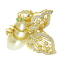 SELECT JEWELRY pearl / emerald / diamond broach K18 yellow gold Lady's fs3gm