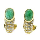 SELECT JEWELRY emerald / diamond earrings K18 yellow gold Lady's fs3gm