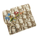 CHRISTIAN DIOR trotteur flower embroidery folio wallet (there is a coin purse) canvas X leather Lady's