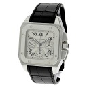 100 CARTIER Santos watch stainless steel / leather men fs3gm