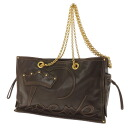 LOEWE gold metal fittings chain shoulder logo stitch shoulder bag leather Lady's fs3gm