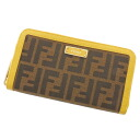 FENDI ズッカ bottle tit wallet (there is a coin purse) canvas X leather Lady's fs3gm