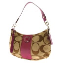 COACH signature pattern shoulder bag canvas x Leather Womens fs3gm
