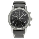 HERMES Clipper Chrono Watch stainless steel and black leather mens fs3gm