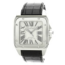 CARTIER Santos 100 watch stainless steel / leather mens fs3gm