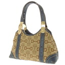 GUCCI horsebit handle shoulder bag canvas Womens