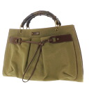 GUCCI bamboo tote bags canvas / leather women's fs3gm