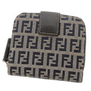 FENDI caked pattern two-fold wallets (purses and) canvas x leather unisex
