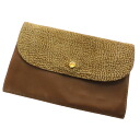 BORBONESE quail pattern porch long wallet (there is a coin purse) suede Lady's fs3gm