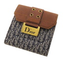 CHRISTIAN DIOR W hook trotteur folio wallet (there is a coin purse) canvas X leather Lady's fs3gm