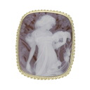 SELECT JEWELRY cameo broach K18 yellow gold Lady's fs3gm