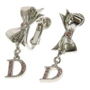 Lady's fs3gm made by CHRISTIAN DIOR ribbon motif earrings metal