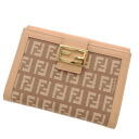 FENDI zucchino 2 fold wallet ( purses and ) canvas x Leather Womens