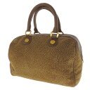 BORBONESE quail pattern handbag suede X leather Lady's fs3gm
