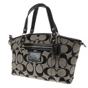 COACH signature pattern shoulder bag canvas X patent Lady's fs3gm
