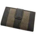 FENDI pecan pattern pouch folio wallet (there is a coin purse) nylon x leather unisex fs3gm