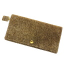 BORBONESE quail pattern flat long wallet (there is a coin purse) suede x leather Lady's