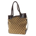 GUCCI GG pattern belt design shoulder bag canvas X leather Lady's fs3gm