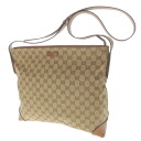 GUCCI GG pattern shoulder bag canvas X leather unisex fs3gm