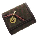 FENDI ズッキーノダブル F charm folio wallet (there is a coin purse) canvas x leather Lady's upup7