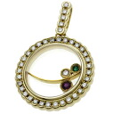 WALTHAM ruby / emerald / diamond pendant K18 gold Lady's upup7