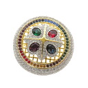 SWAROVSKI colorful round broach broach Lady's upup7