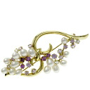 JUNE pearl / diamond broach K18 yellow gold Lady's upup7