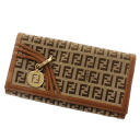 FENDI ズッキーノ bottle tit wallet (there is a coin purse) canvas X leather Lady's upup7