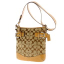 COACH signature pattern shoulder bag canvas X leather Lady's upup7