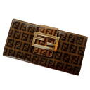 FENDI ズッキーノ bottle tit wallet (there is a coin purse) enamel X leather Lady's upup7