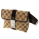 GUCCI bum-bag GG shoulder bag canvas x leather Lady's upup7