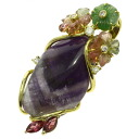 SELECT JEWELRY amethyst / garnet / diamond pendant K18 gold Lady's upup7