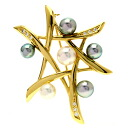 TASAKI pearl / diamond broach K18 gold Lady's upup7