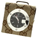 GUCCI travel clock watch stainless steel / canvas Lady's upup7