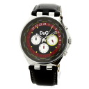 Authentic D&G Round Case Watch Stainless Black leather Quartz Men