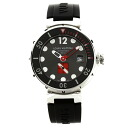 Authentic LOUIS VUITTON Tambour Diver Watch Stainless Rubber an automatic Men