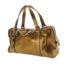 Authentic GUCCI  Hardware ribbon interlocking Handbag Python