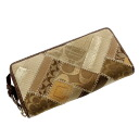 Authentic COACH  Signature pattern (With Coin Pocket) Long Wallet Canvas x leather
