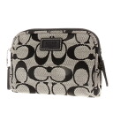 COACH signature print makeup pouch canvas x Leather Womens upup7