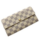 Authentic LOUIS VUITTON  Portefeiulle · Saraazuru N61735 (With Coin Pocket) Long Wallet Damier canvas