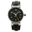 Authentic LOUIS VUITTON Tambour GMT Q1131 Watch Stainless Brown leather an automatic Men