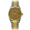 Authentic ROLEX 16013G Oyster Perpetual houndstooth 10P diamond Overhauled Watch Stainless 18K Yellow Gold an automatic Men