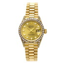 Authentic ROLEX Datejust 69158G old diamond Overhauled Watch 18K yellow gold  an automatic Women